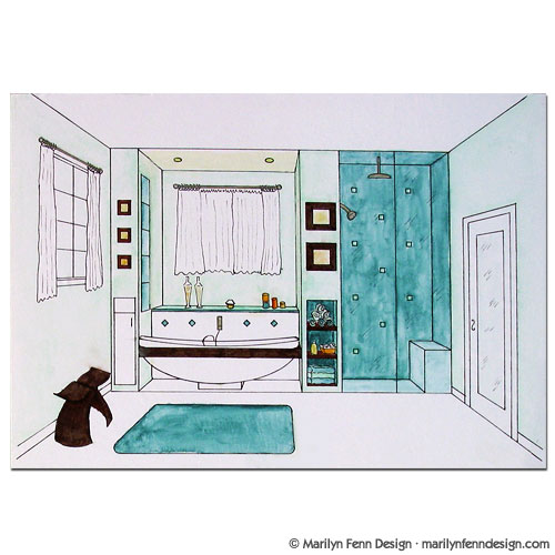 Bathroom Drawing Bathroom Perspective By Andrewosis On